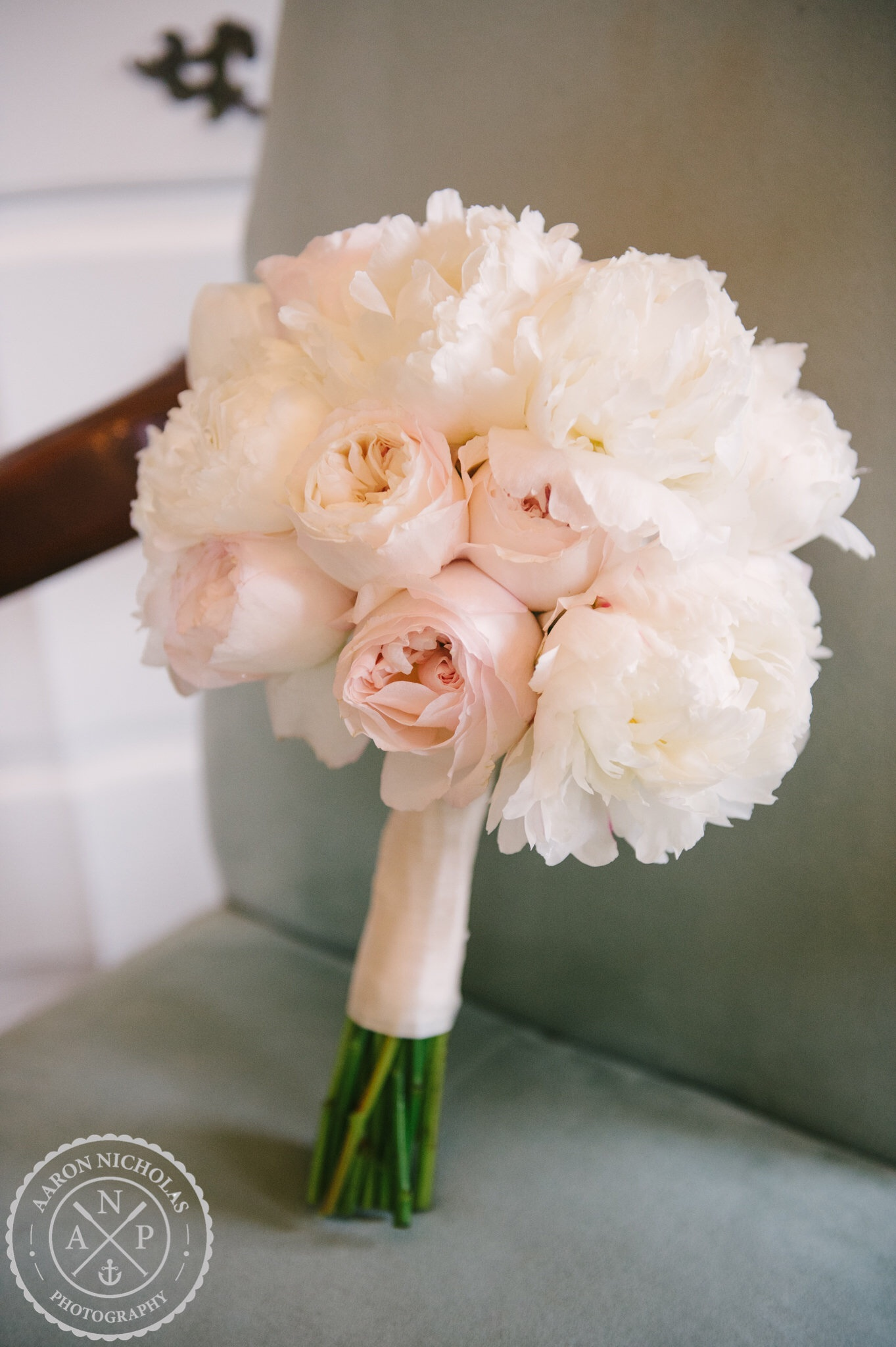 the bridesmaids wore blush pink gowns and carried bouquets made of white hydrangea pink tulips white stock pink ohara garden roses white lisianthus and - White Garden Rose Bouquet